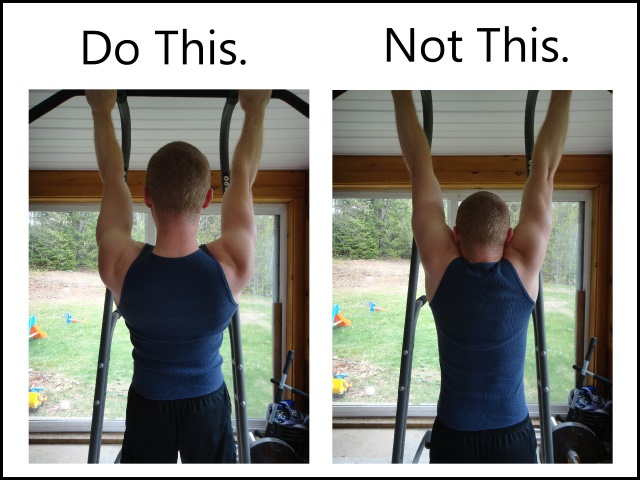 proper pull up form - shoulder pack